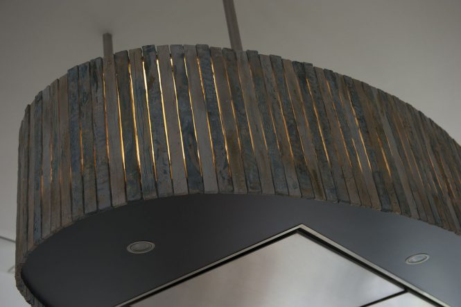 Lighting extractor hood, detail, halchimia, bronze, wood, MDF, 150x70 cm
