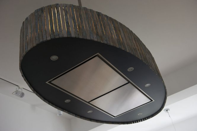 Lighting extractor hood, halchimia, bronze, wood, MDF, 150x70 cm
