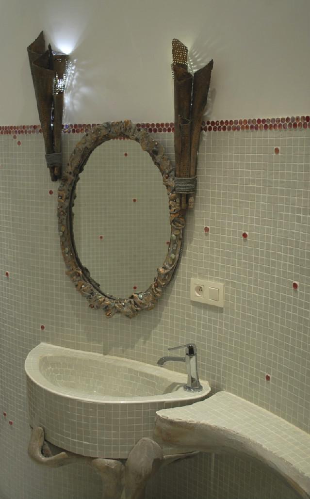 Mirror, halchimia, bronze, pearls, 67x48 cm