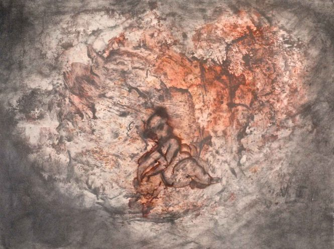 Cupidon, pigments on paper, 54x72 cm