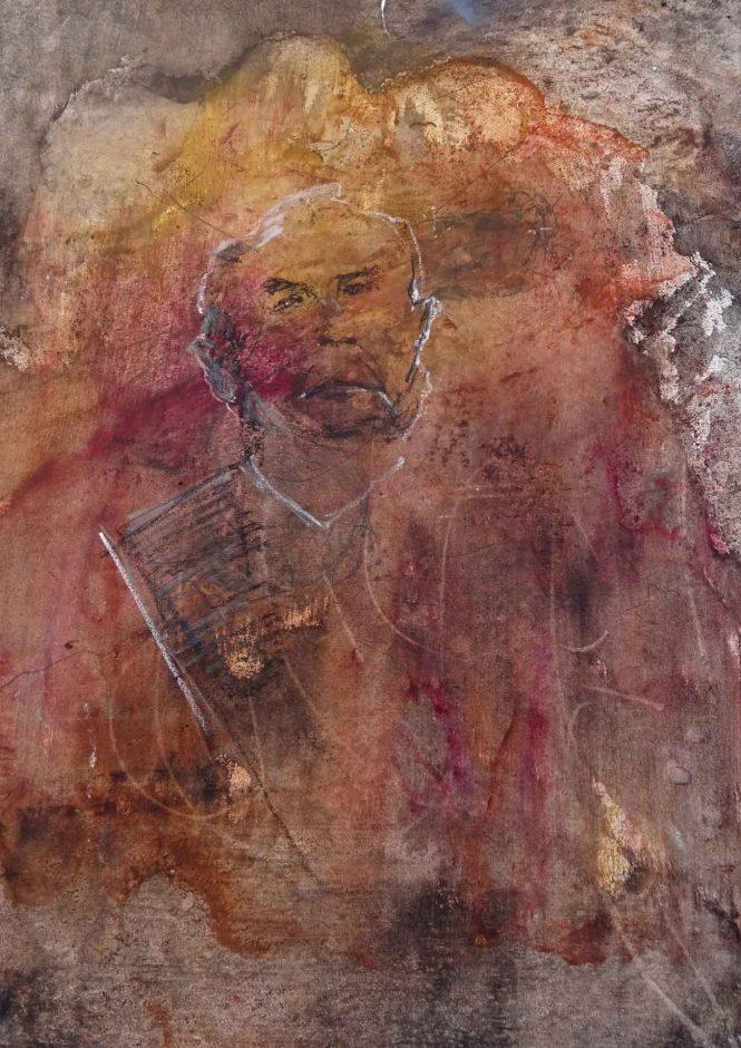 Saving Grace, pigments on paper, 70x45cm