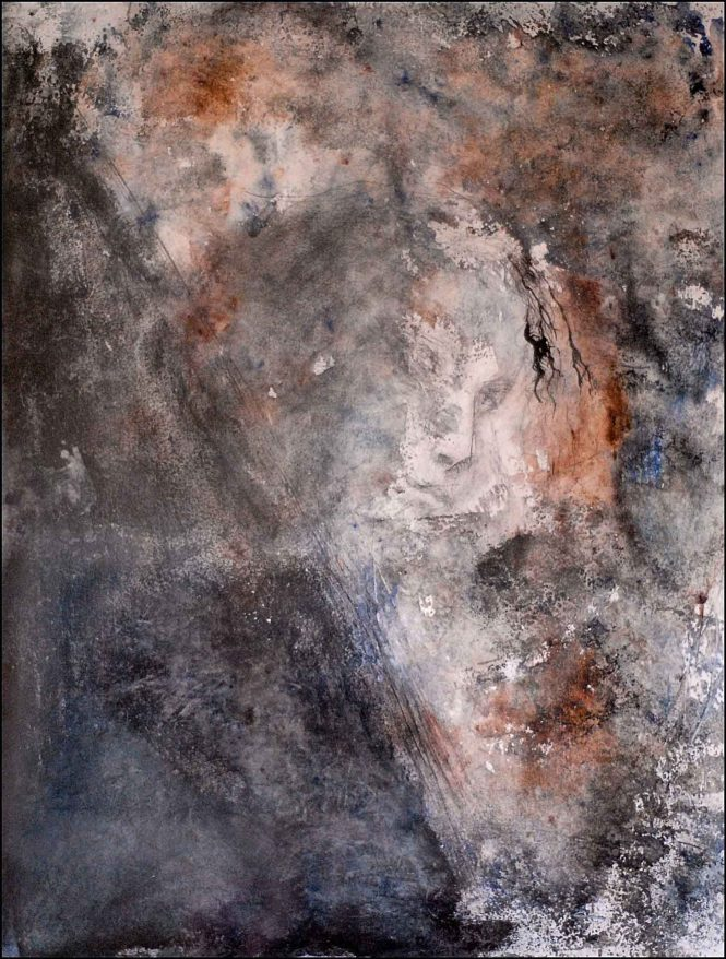 Untitled, pigments on paper, 65x55cm