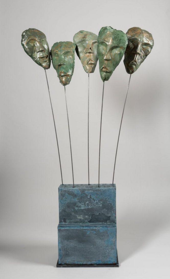 Faces, halchimia, bronze, 118x63x28 cm