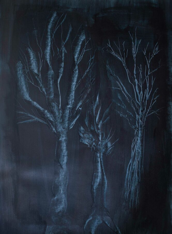 Black Out Woods, acrylic on paper, 76x56 cm
